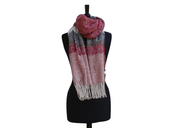 Ws303 Red Winter Scarf wool/Viscose mix