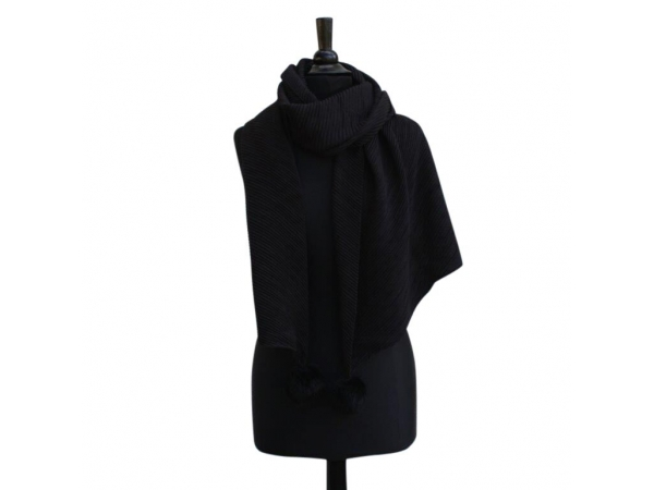 Ws-652 Black Winter Scarf With Fur Pom-Pom