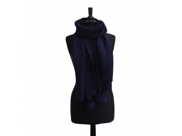 Ws-652  Navy Winter Scarf With Fur Pom-Pom
