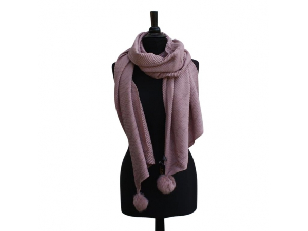 Ws-652 Pink Winter Scarf With Fur Pom-Pom