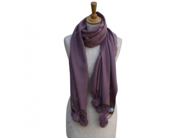 Ws001 Mauve Cashmere Blend Pashmina With Small Pom Pom
