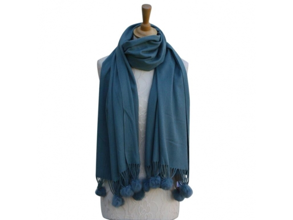 Ws001 Petrol Cashmere Blend Pashmina With Small Pom Pom