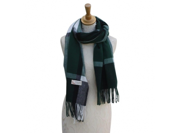 Ws002 Green Cashmere Blend Pashmina With Large Check Pattern