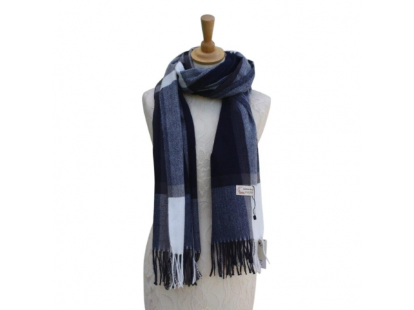 Ws002 Navy Cashmere Blend Pashmina With Large Check Pattern