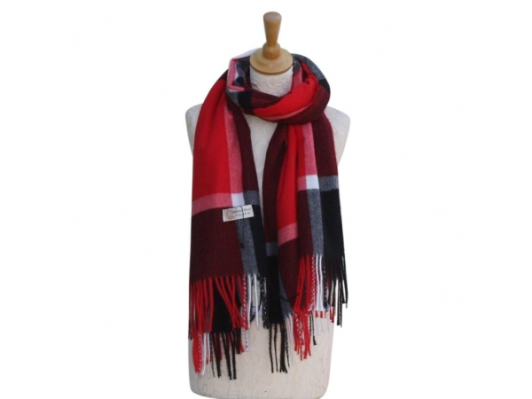 Ws002 Red Cashmere Blend Pashmina With Large Check Pattern