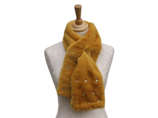 Ws002 Yellow faux fur scarf with crystal detail