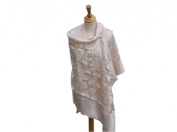 Viscose,cotton & silk wrap Beige