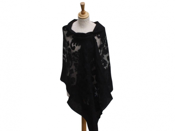Viscose,cotton & silk wrap Black