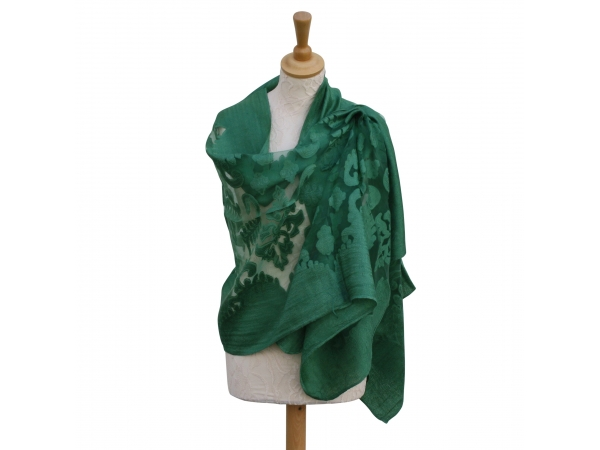 Viscose,cotton & silk wrap Green