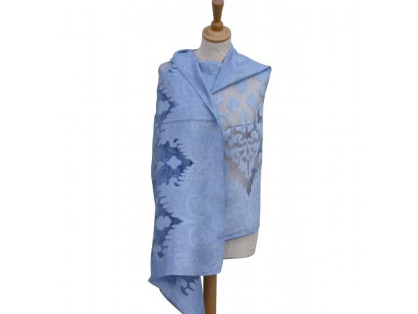 Viscose,cotton & silk wrap Lt.Blue