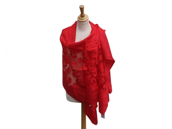 Viscose,cotton & silk wrap Red