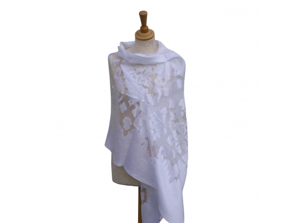 Viscose,cotton & silk wrap White