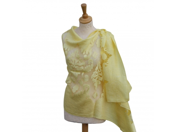 Viscose,cotton & silk wrap Lemon