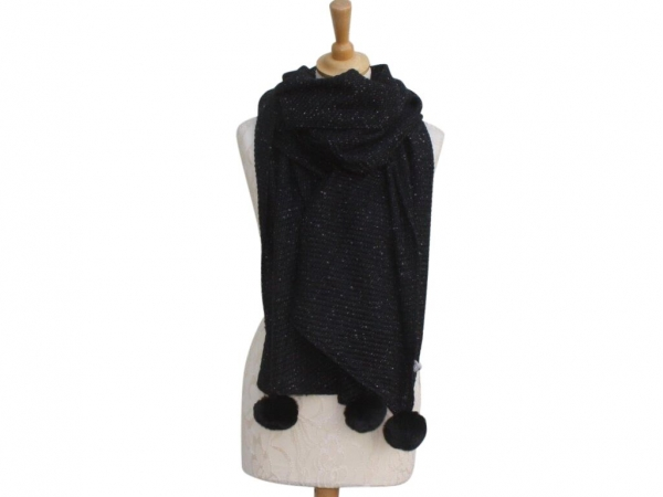 Ws005 Black Pom-Pom winter scarf