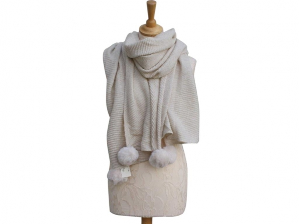 Ws005 Cream Pom-Pom winter scarf