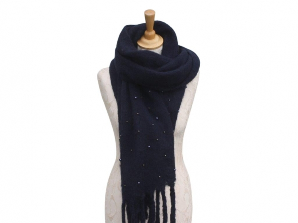 Ws006 Navy scarf with pearl details