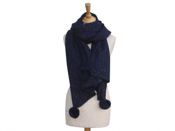 Ws005 Navy Pom-Pom winter scarf