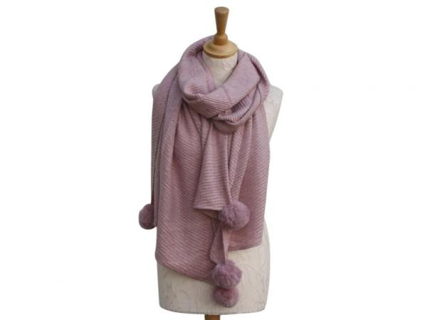 Ws005 Pink Pom-Pom winter scarf