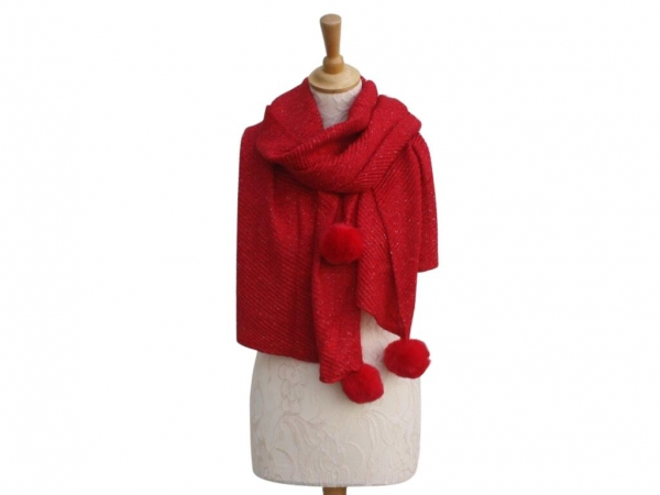 Ws005 Red Pom-Pom winter scarf