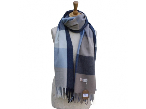 Ws006 Blue Cashmere Blend Pashmina With Check Pattern