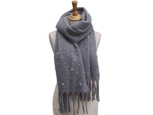 Ws006 Grey scarf with pearl details