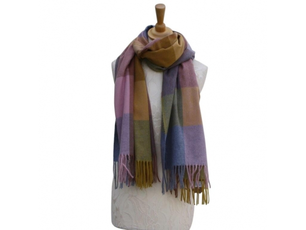 Ws006 Mustard Cashmere Blend Pashmina With Check Pattern