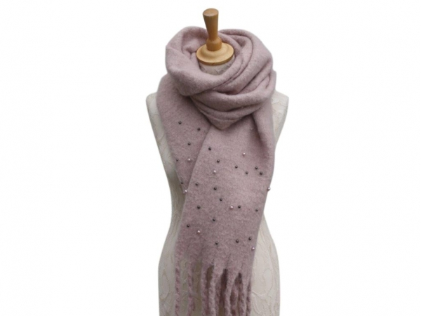Ws006 Pink scarf with pearl details