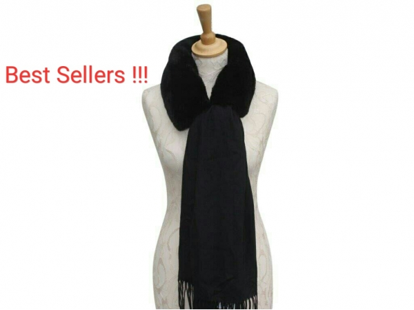 Ws008 Black scarf with faux fur collar