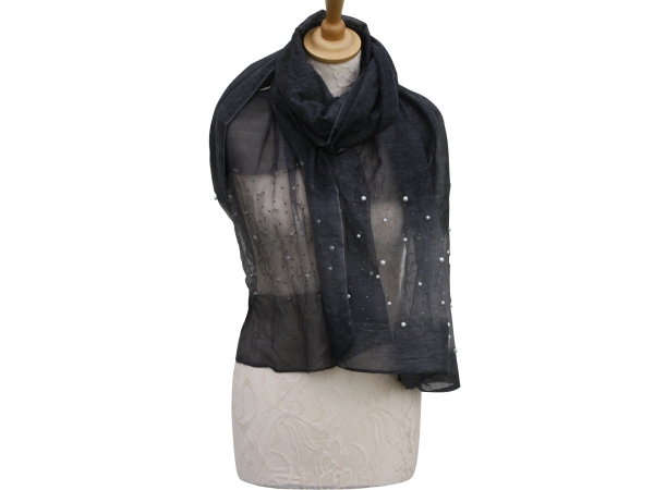 Ws009 Black Scarf With pearl detail