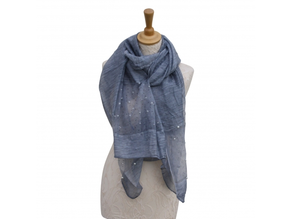 Ws009 Charcoal Scarf With Pearl Detail