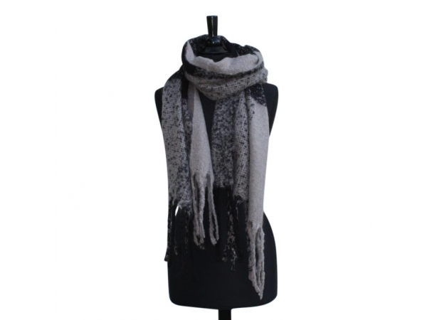 Ws-217 Blk/grey Winter Scarf Wool & Acrylic Mix.