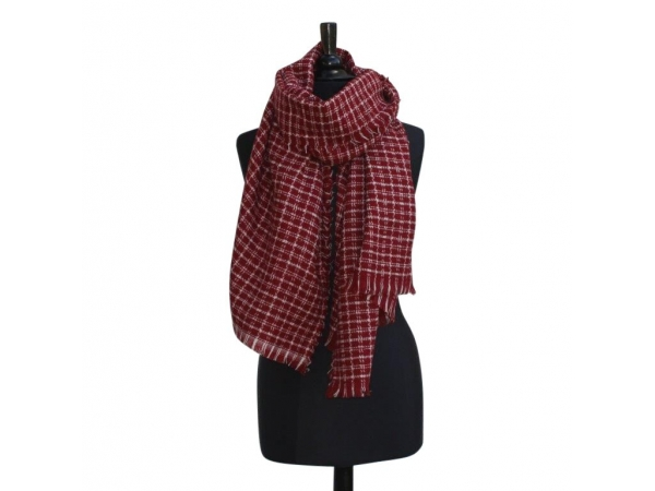Ws381 Red Over Check Winter Scarf wool/Viscose mix