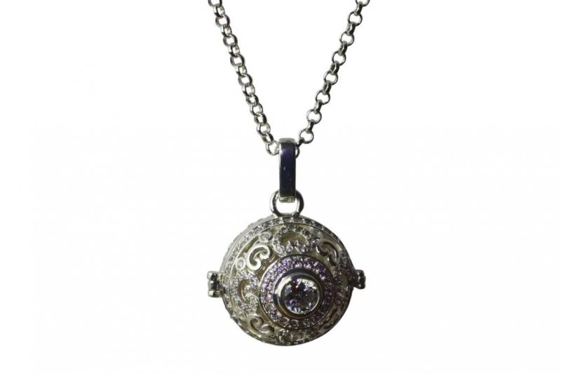 Ac-1s Long silver pendant necklace 80cm