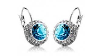 E198bL  Quality crystal earring