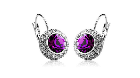 E198pl  Purple crystal earring