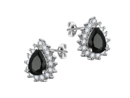 E439bk  Small Crystal Teardrop Earring