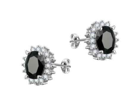 E442 Black Crystal Stud Earring