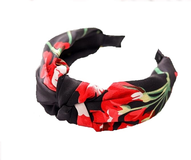 Floral Hair Band Black
