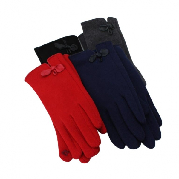 G-Bow Winter Glove With Leather Bow: 12 pack : 4/black 4/Dk.grey 2/red 2/navy.