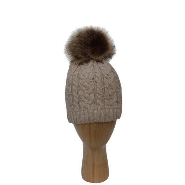 H-003 Beige Cable Stitch Faux Pom-Pom Hat