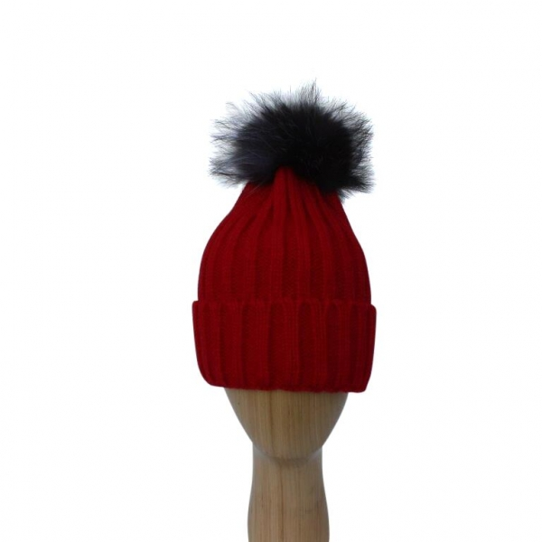 H-006 Red Winter Hat With Detachable Fur Pom-Pom