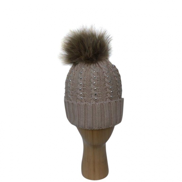 H-007 Beige Winter Hat With Large Detachable Real Fur Pom-Pom