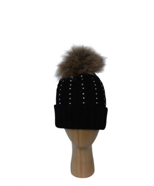 H-007 Black Winter Hat With Large Detachable Real Fur Pom-Pom