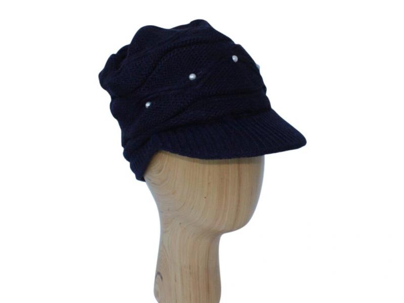 H016 Navy peak hat with pearl detail.