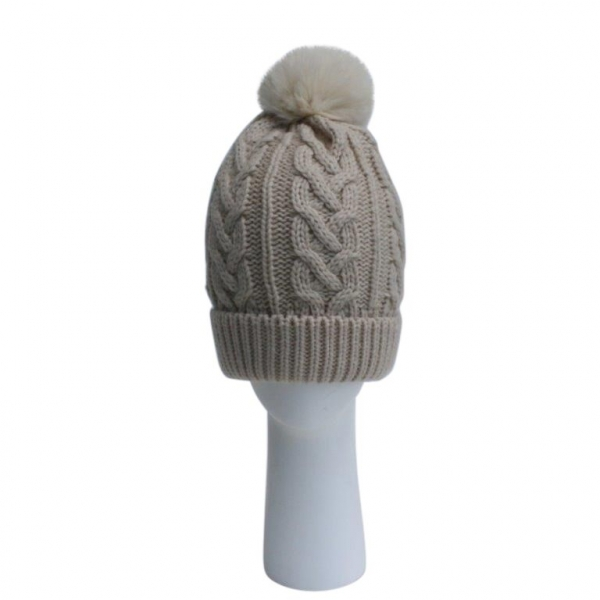 Oatmeal Cable Knit Hat with Faux Fur Pom Pom