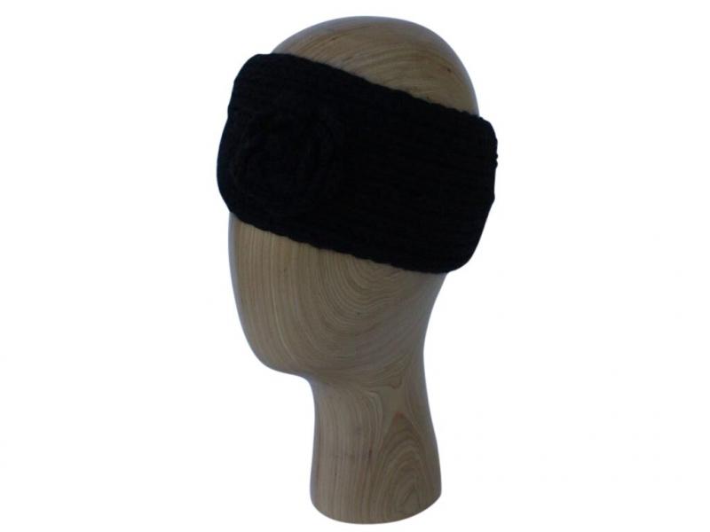 HB002 Black wool headband with rose detail