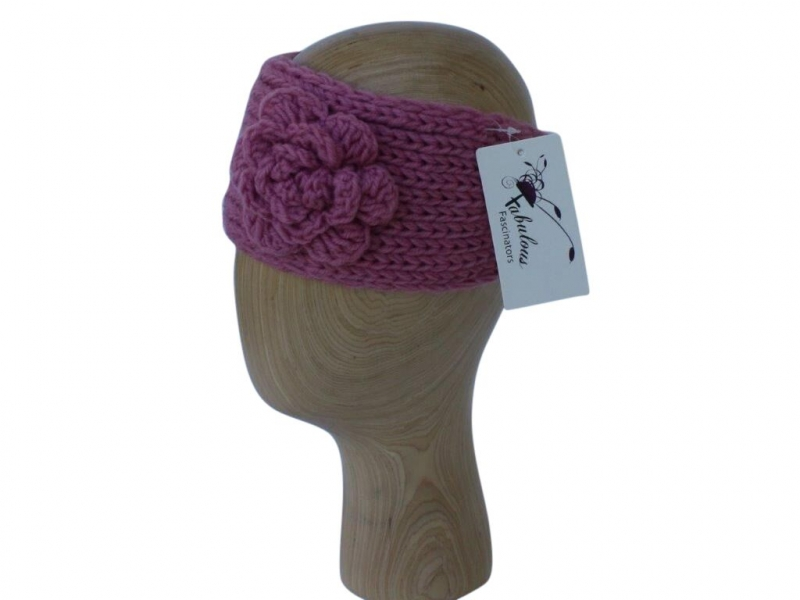 HB002 Purple wool headband with rose detail