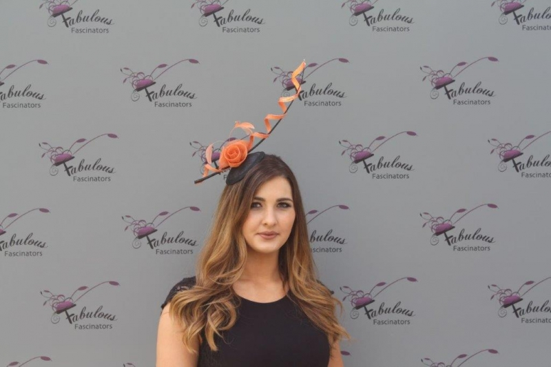 Alexis Blk/orange fascinator