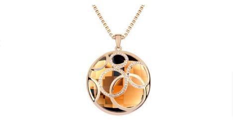 N304 Long gold crystal pendant