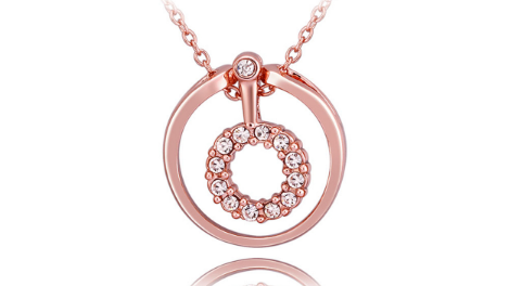 N404 Rose gold circle pendant